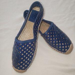 Tory Burch Blue Leather Flats/Espadrilles Size 5